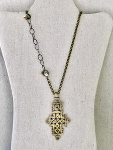 Vintage Coptic Cross On Brass And Silver Chain