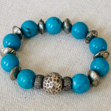 Load image into Gallery viewer, Turquoise And Diamonds With African Silver Spacers