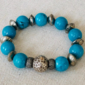 Turquoise And Diamonds With African Silver Spacers