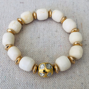 Bone, Gold, And Diamond Bracelet