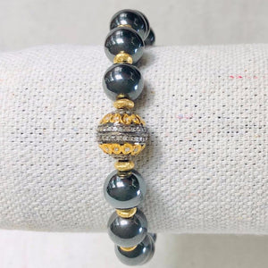 Hematite And Gold Diamond Bracelet
