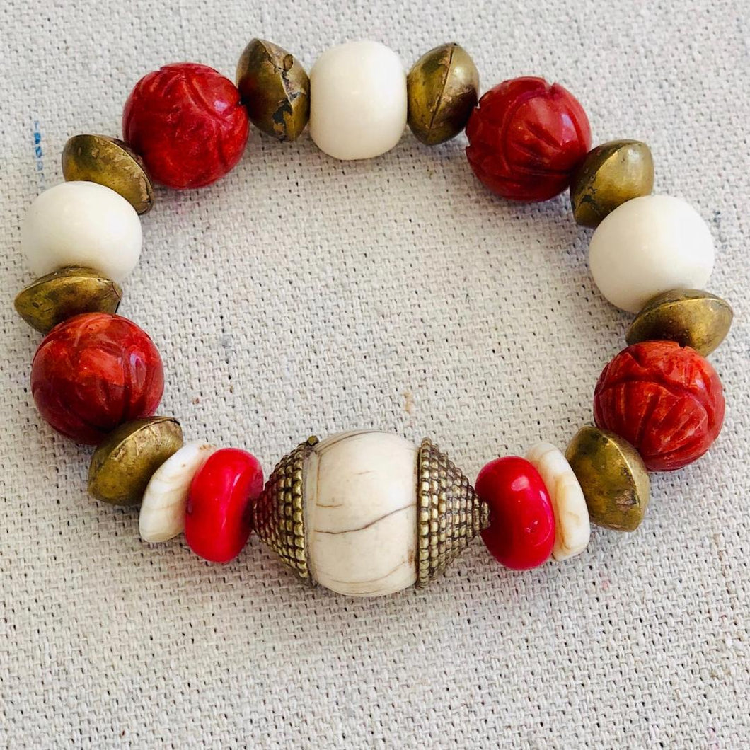 Coral, Brass And Shell Bracelet