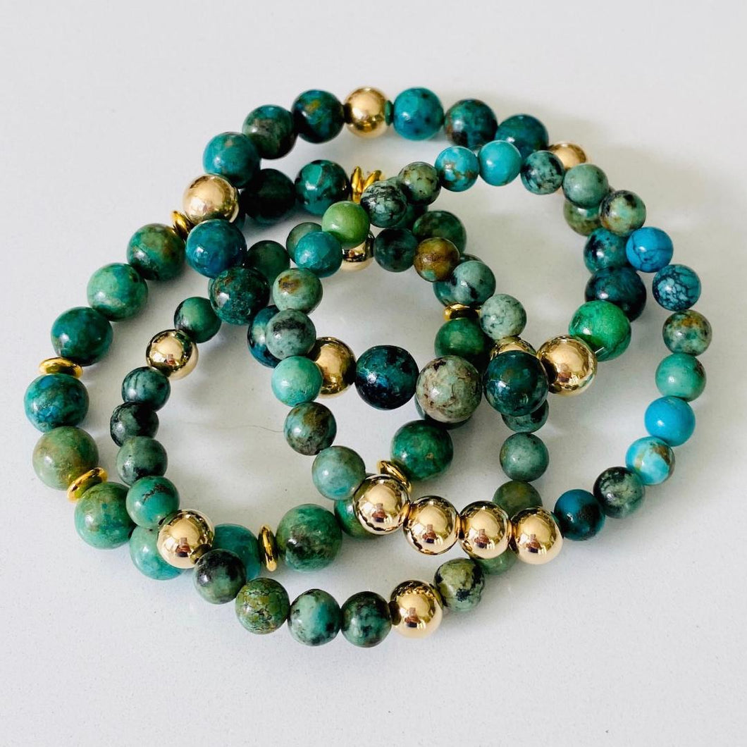 Turquoise And Gold Filled Bracelet Stack