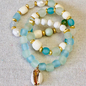 Seaglass, Agate, Pearl And Shell Bracelet Stack