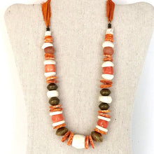 Load image into Gallery viewer, Coral, Brass And Shell Necklace