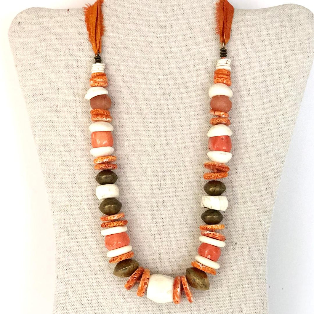 Coral, Brass And Shell Necklace