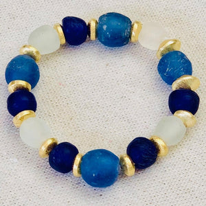 Seaglass And Gold Bracelet