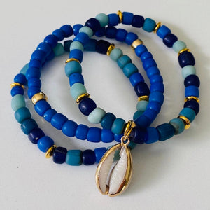 Lapis And Gold Shell Bracelet Stack