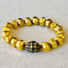 Load image into Gallery viewer, 18 K Gold Hollow Beads And Diamond Bracelet