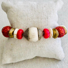 Load image into Gallery viewer, Coral, Brass And Shell Bracelet