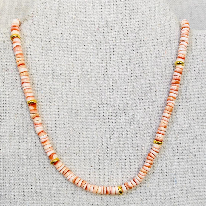 Coral Heishi And Gold Necklace