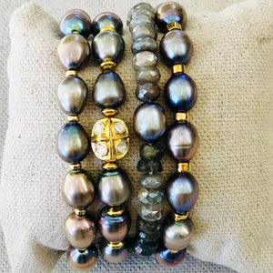 Pearl, Gold And Diamond Bracelet
