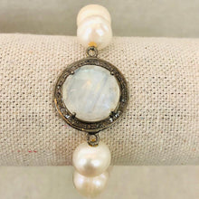 Load image into Gallery viewer, Pearl, Moonstone, And Diamond Bracelet