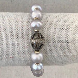 Grey Pearl And Diamond Bracelet