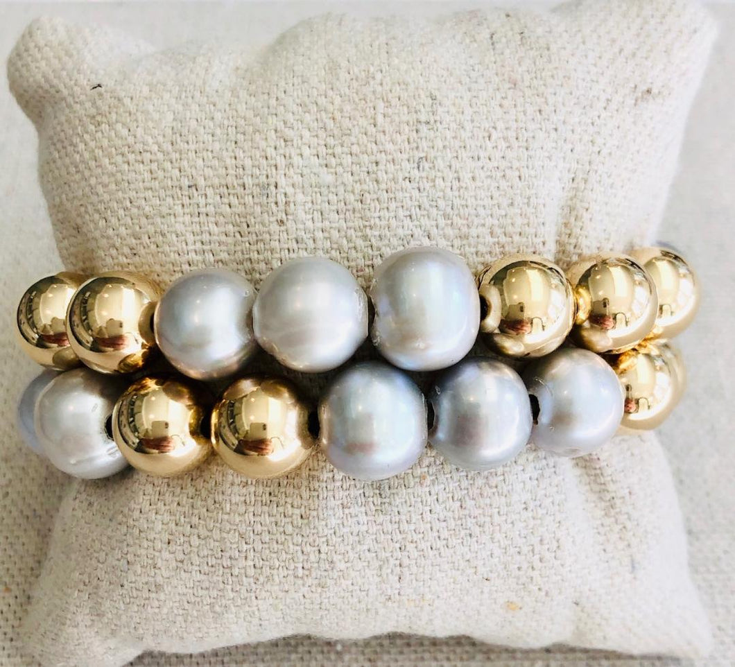 Gold Filled And Pearl Bracelet Stack