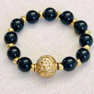 Black Onyx And Tribal Brass Bead Bracelet