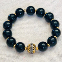 Load image into Gallery viewer, Black Onyx And 14 K Gold Diamond Bead