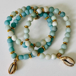 Turquoise  And Gold Shell Bracelet Stack