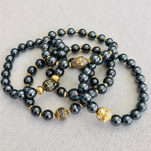 Hematite And Black Diamond With Gold Pyrite Bracelet