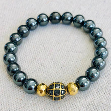 Load image into Gallery viewer, Hematite And Black Diamond With Gold Pyrite Bracelet