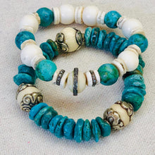 Load image into Gallery viewer, Turquoise, Diamond, And Bone Bracelet