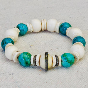 Turquoise, Diamond, And Bone Bracelet