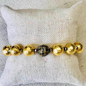 Hammered Gold And Black Diamond Bracelet