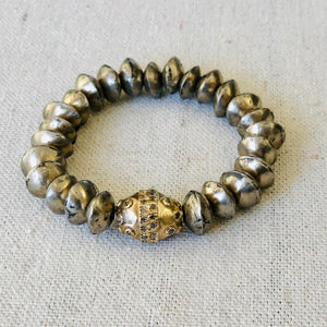 Vintage African Silver And Diamond Bracelet