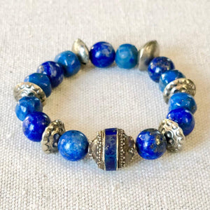 Blue Lapis Bracelet With Vintage Silver Beads