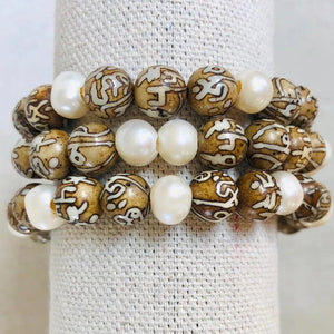 Conch Shell Mala Beads And Pearl Bracelet Stack