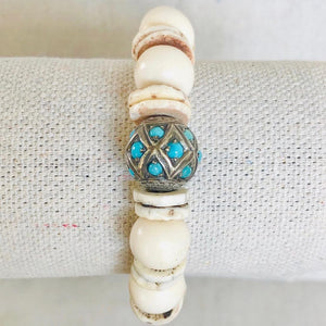 Shell And Turquoise Diamond Bracelet