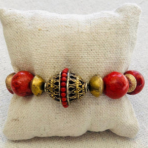 Coral And African Brass Bracelet