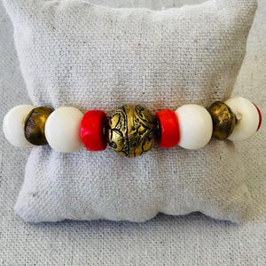 Coral, Bone, And African Brass Bracelet