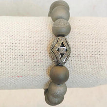 Load image into Gallery viewer, Grey Druzy And Diamond Bracelet