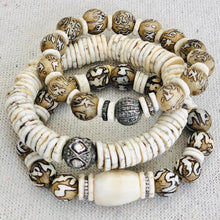 Load image into Gallery viewer, Conch Shell Mala Beads, Coral, Bone And Diamond Bracelet