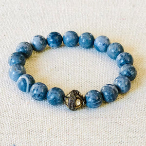 Blue Coral And Diamond Bracelet