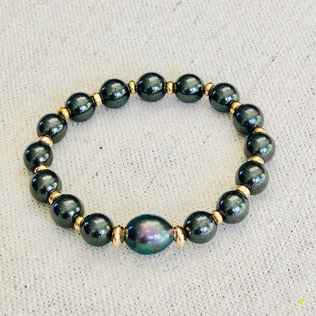 Hematite and Pearl Bracelet