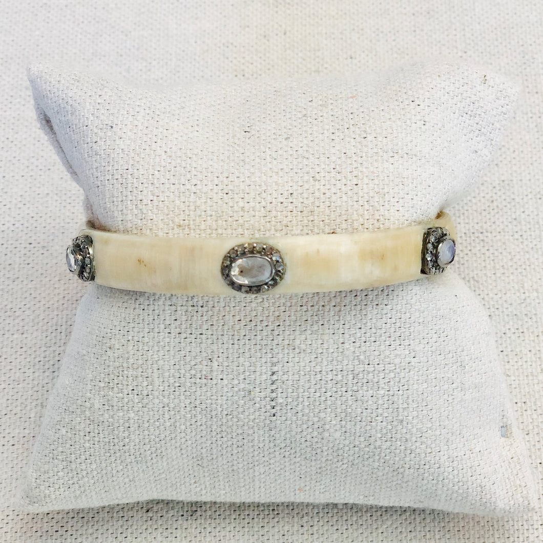 Horn And Diamond Bangle With Moonstone