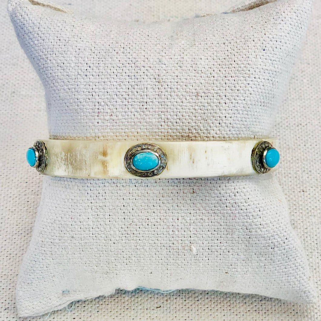 Horn And Diamond Bangle With Turquoise