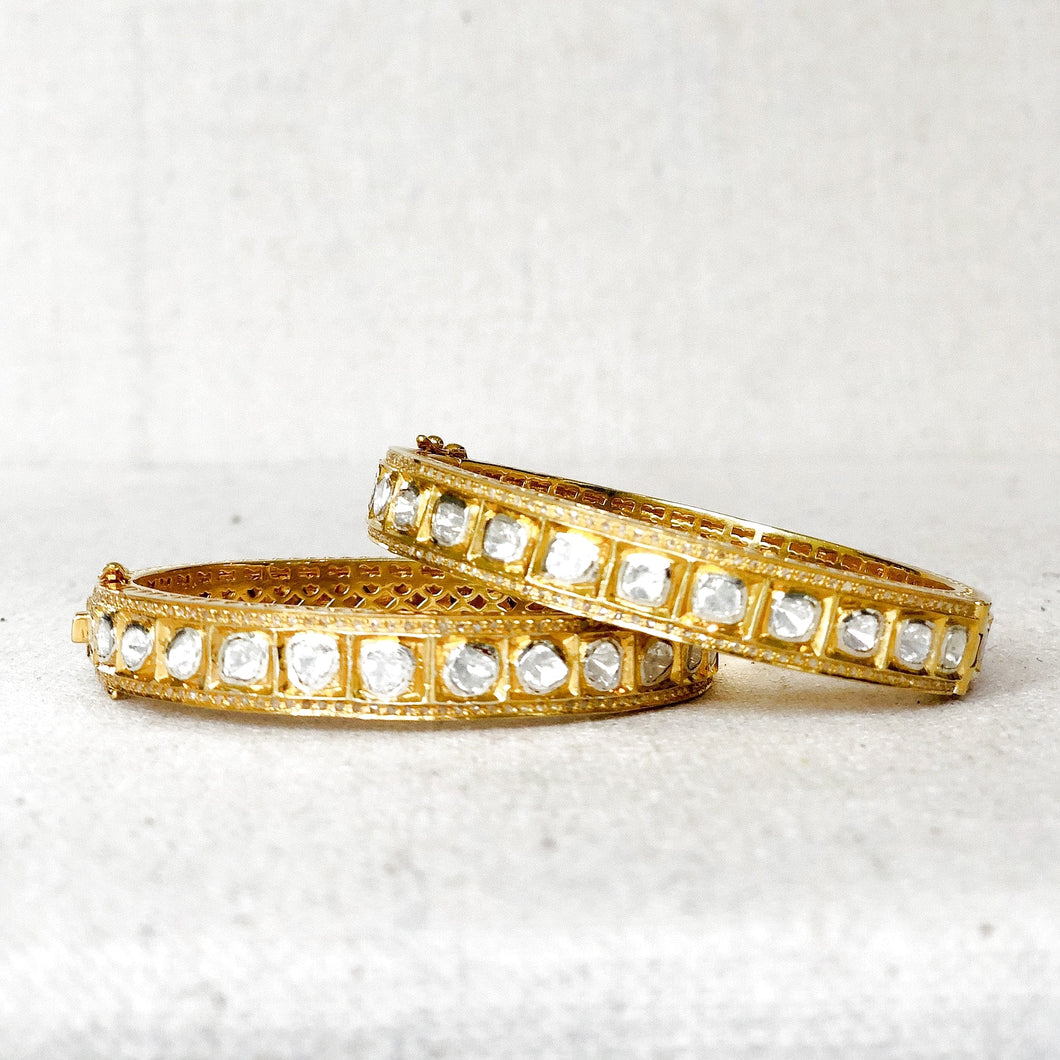 Gold Vermeil And Rose Cut Diamond Bangle