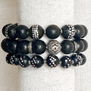 Black Mala Bead And Diamond Bracelet