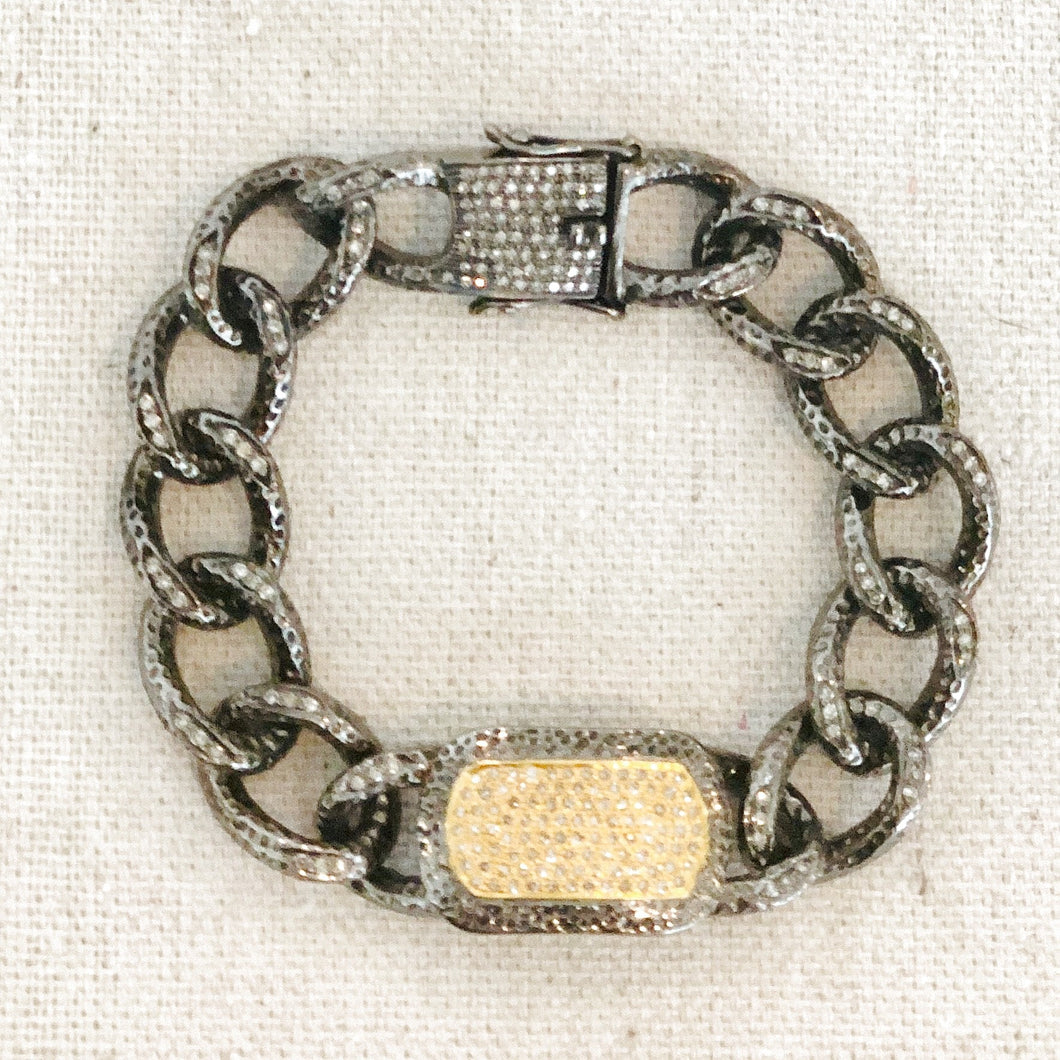 Silver And Gold With Diamond Bar Bracelet