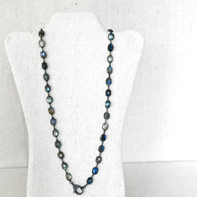 Load image into Gallery viewer, Labradorite Sterling SIlver Linked Necklace With Pave Diamond Lobster