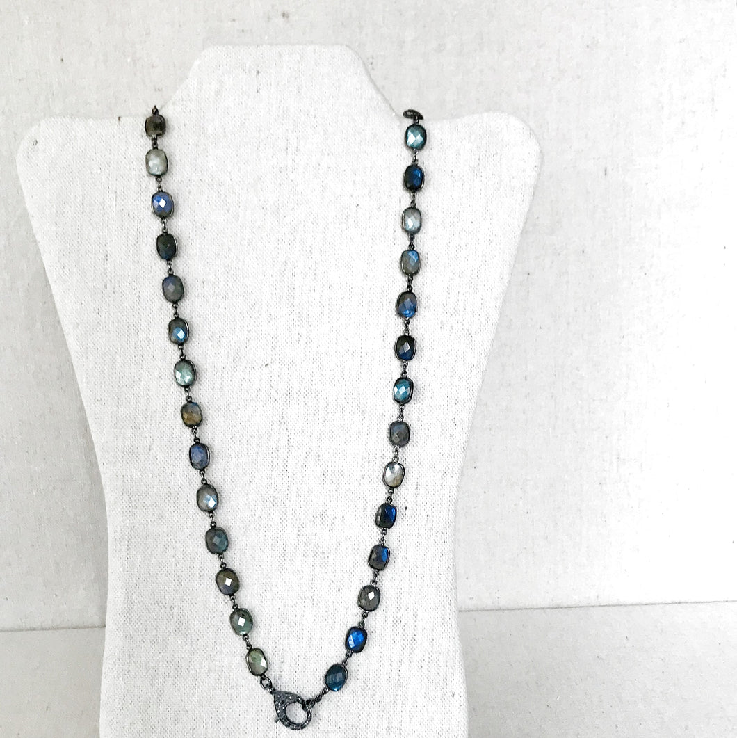 Labradorite Sterling SIlver Linked Necklace With Pave Diamond Lobster