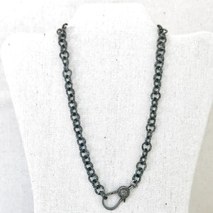 Hammered Sterling Chain With Pave Diamond Lobster