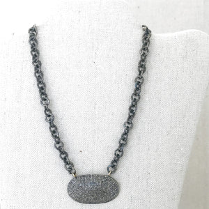 Sterling Silver Chain With Diamond Pendant