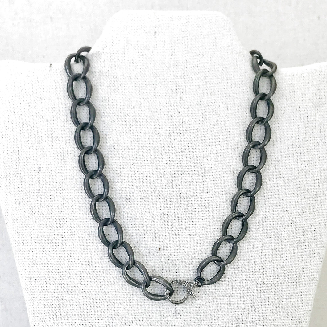 Sterling Curb Chain With Pave Diamond Lobster