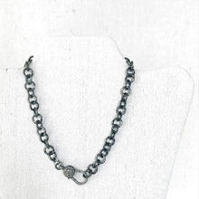 Load image into Gallery viewer, Hammered Sterling Chain With Pave Diamond Lobster
