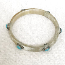 Load image into Gallery viewer, Horn And Diamond Bangle With Turquoise