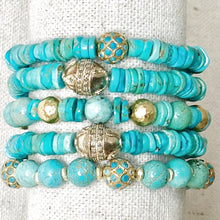 Load image into Gallery viewer, Turquoise And Gold Bracelet